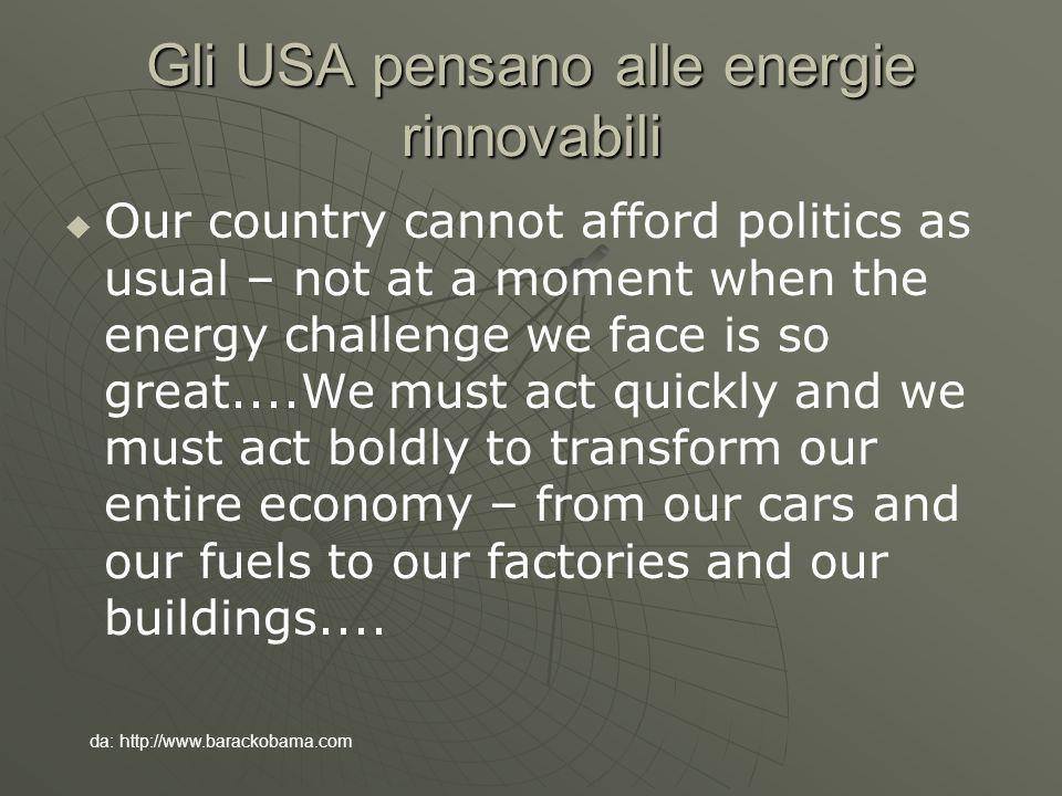 Gli USA pensano alle energie rinnovabili