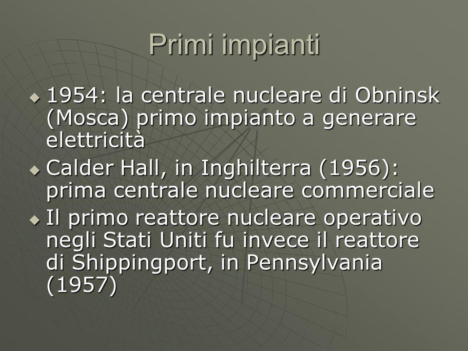 Primi impianti 1954: la centrale nucleare di Obninsk (Mosca) primo impianto a generare elettricità.