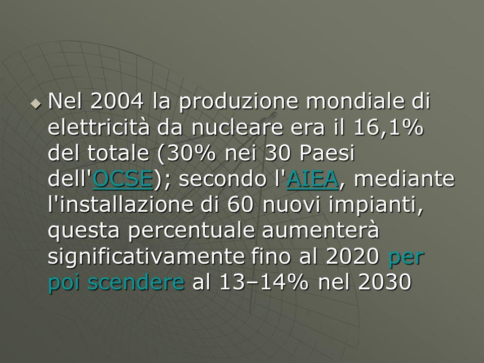 Nel 2004 la produzione mondiale di elettricità da nucleare era il 16,1% del totale (30% nei 30 Paesi dell OCSE); secondo l AIEA, mediante l installazione di 60 nuovi impianti, questa percentuale aumenterà significativamente fino al 2020 per poi scendere al 13–14% nel 2030