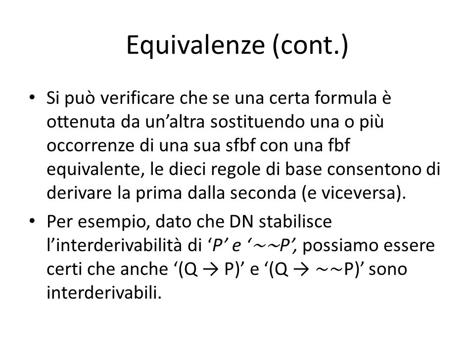 Equivalenze (cont.)