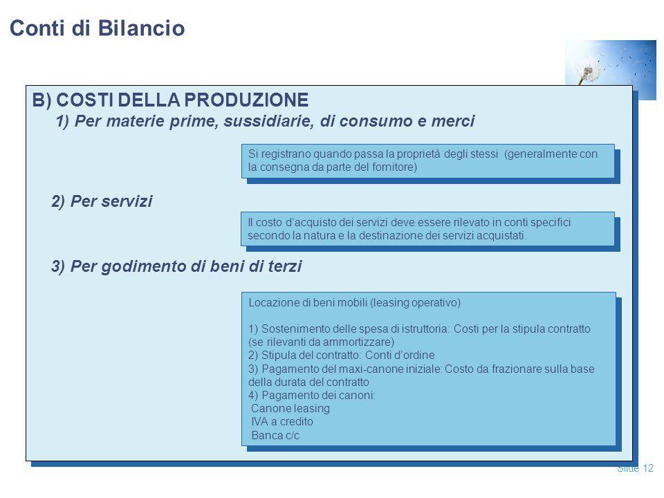 Conti di Bilancio B) COSTI DELLA PRODUZIONE