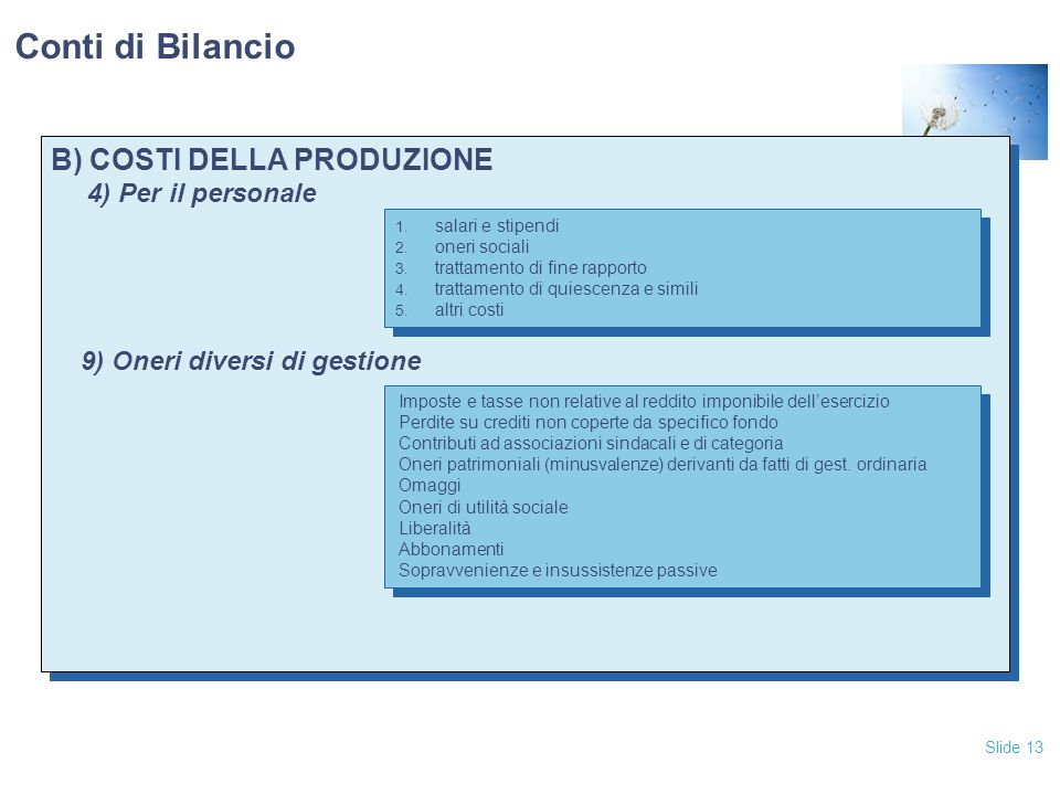 Conti di Bilancio B) COSTI DELLA PRODUZIONE 4) Per il personale