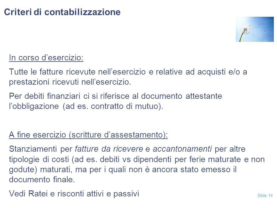 Criteri di contabilizzazione