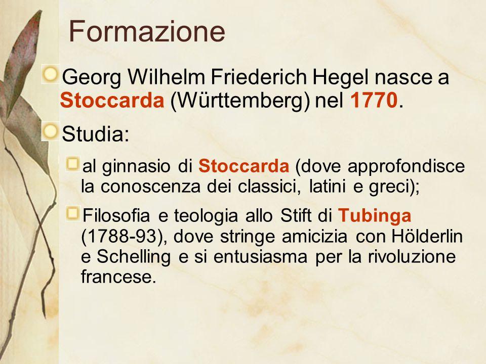Formazione Georg Wilhelm Friederich Hegel nasce a Stoccarda (Württemberg) nel 1770. Studia: