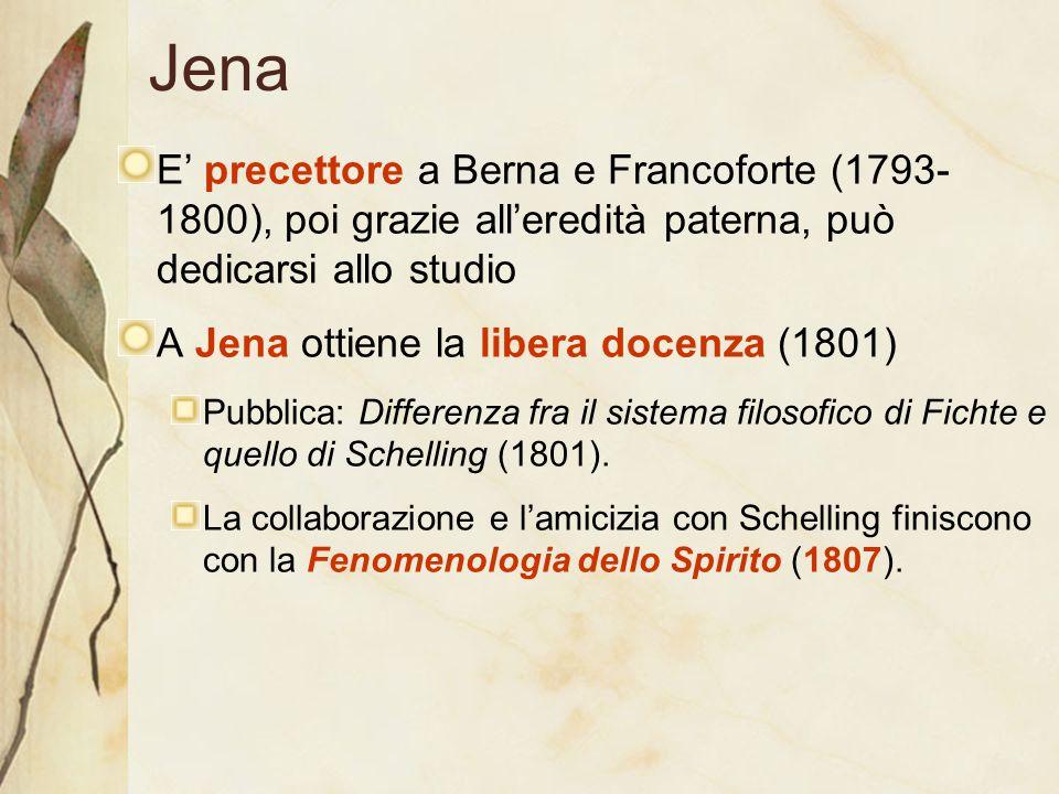 Jena E' precettore a Berna e Francoforte (1793-1800), poi grazie all'eredità paterna, può dedicarsi allo studio.