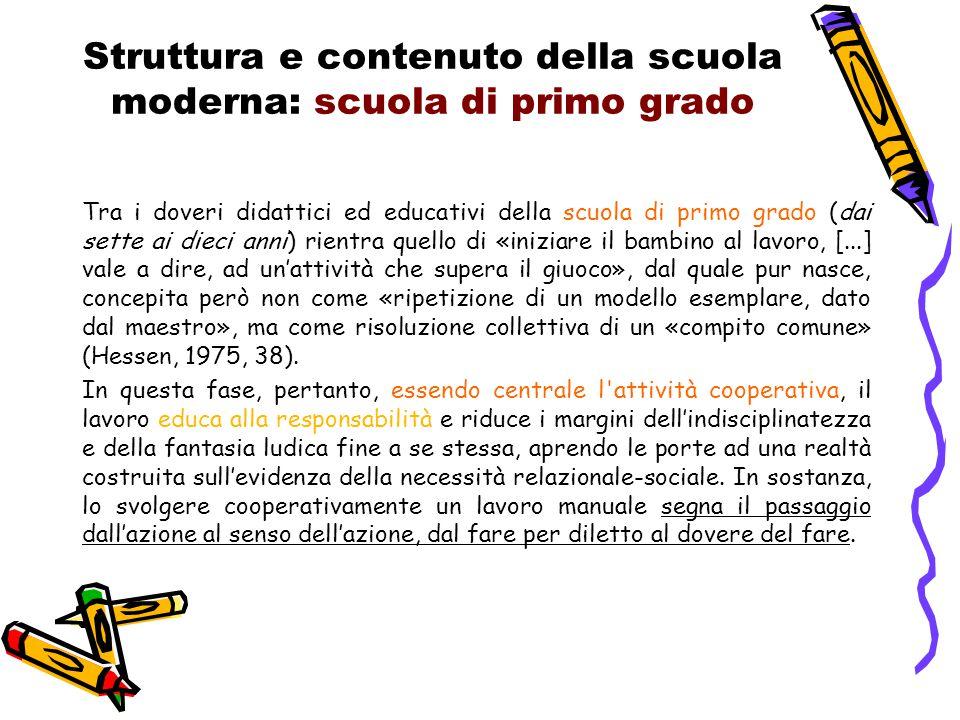 Struttura e contenuto della scuola moderna: scuola di primo grado