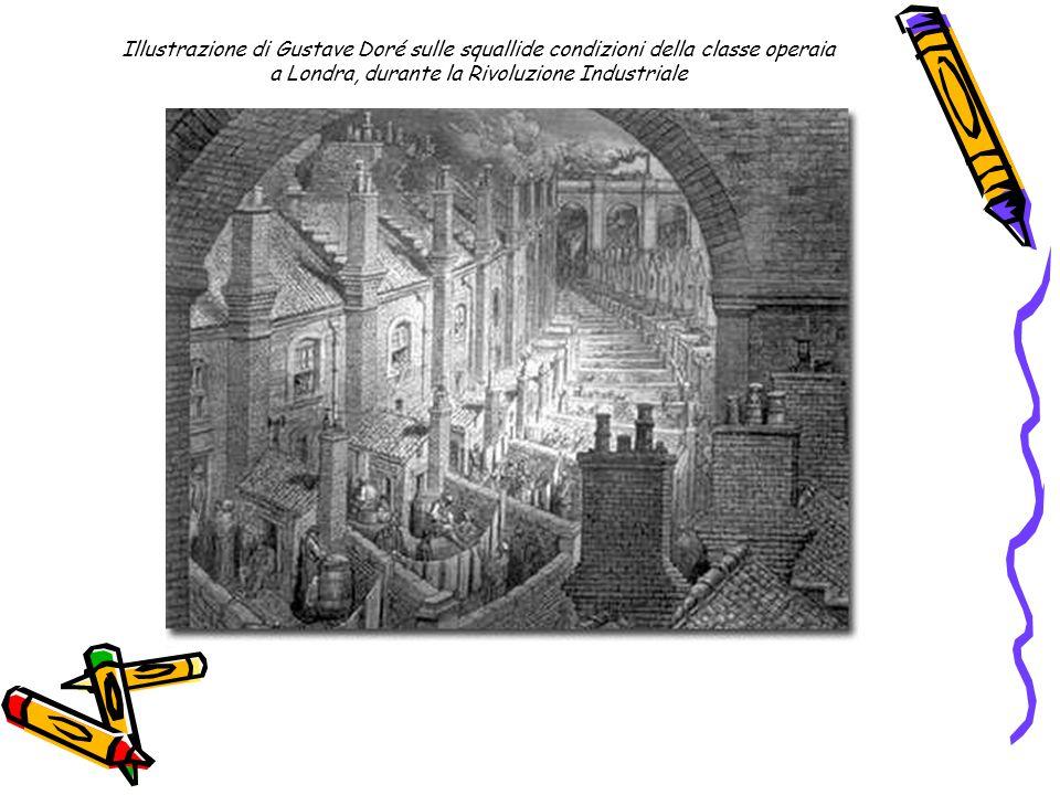Illustrazione di Gustave Doré sulle squallide condizioni della classe operaia a Londra, durante la Rivoluzione Industriale