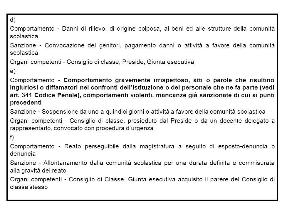 d) Comportamento - Danni di rilievo, di origine colposa, ai beni ed alle strutture della comunità scolastica.