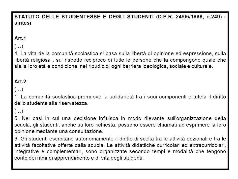 STATUTO DELLE STUDENTESSE E DEGLI STUDENTI (D. P. R. 24/06/1998, n