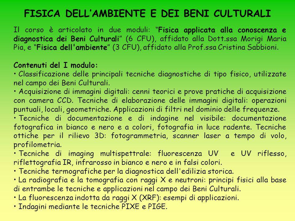 FISICA DELL'AMBIENTE E DEI BENI CULTURALI