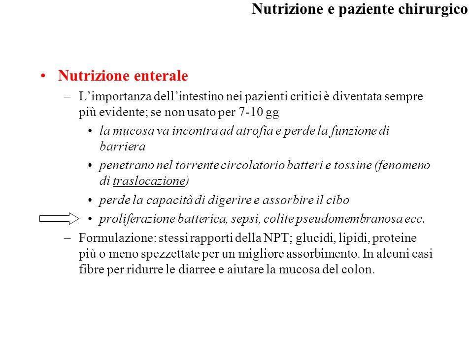 Nutrizione enterale L'importanza dell'intestino nei pazienti critici è diventata sempre più evidente; se non usato per 7-10 gg.