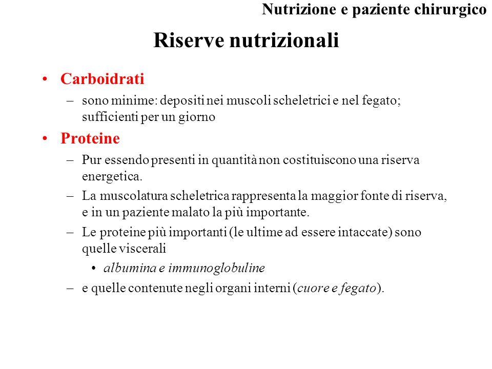 Riserve nutrizionali Carboidrati Proteine