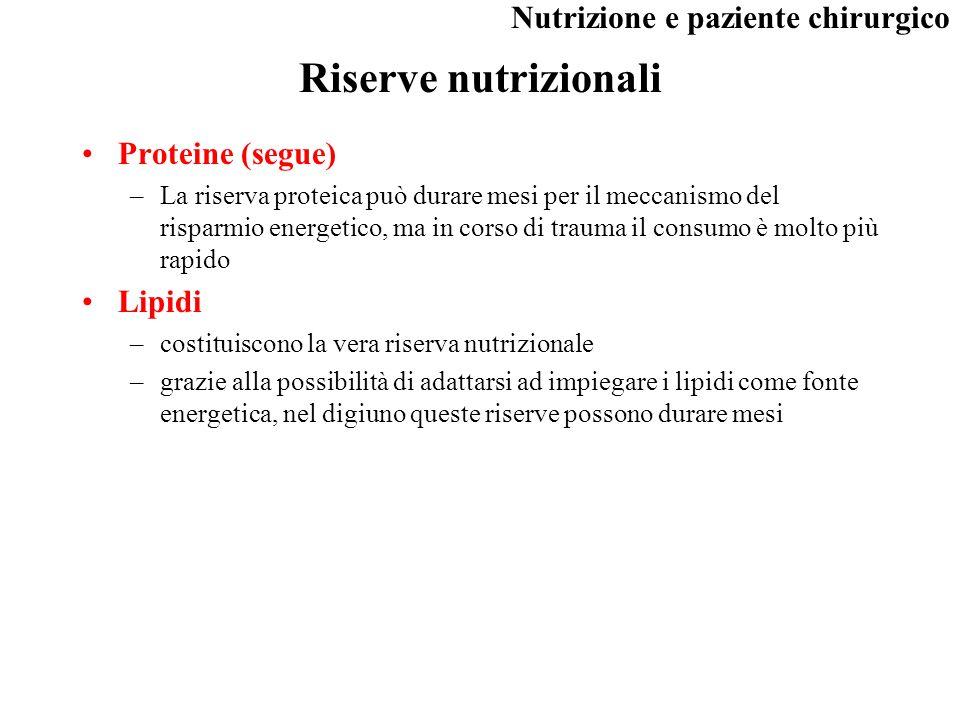 Riserve nutrizionali Proteine (segue) Lipidi