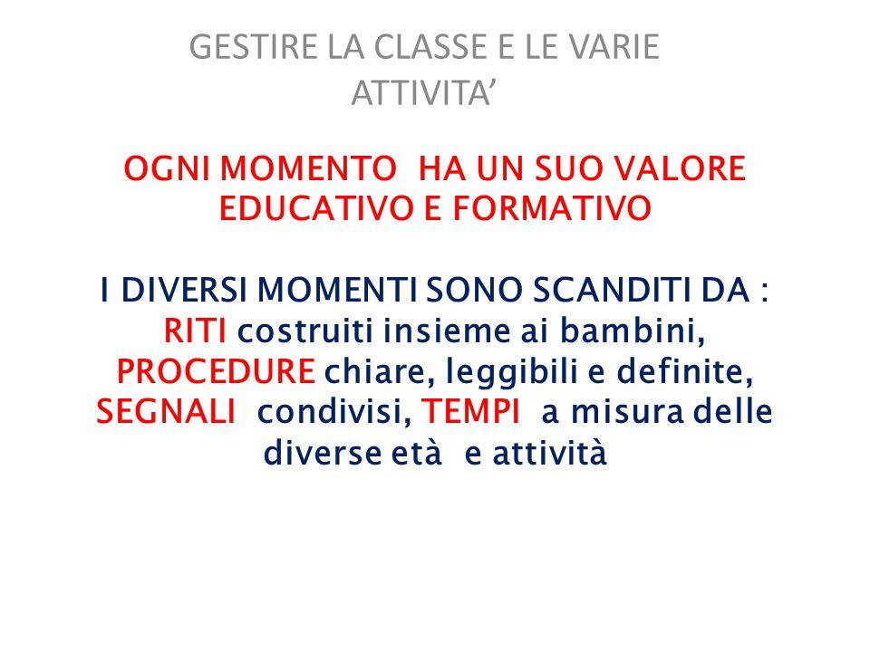 GESTIRE LA CLASSE E LE VARIE ATTIVITA'