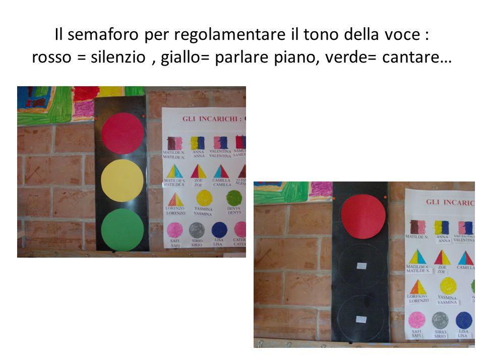 Il semaforo per regolamentare il tono della voce : rosso = silenzio , giallo= parlare piano, verde= cantare…