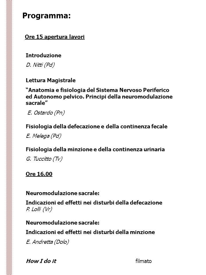 Programma: Ore 15 apertura lavori Introduzione D. Nitti (Pd)