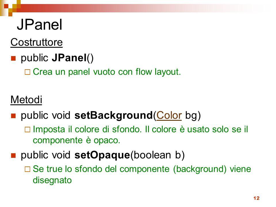 JPanel Costruttore public JPanel() Metodi