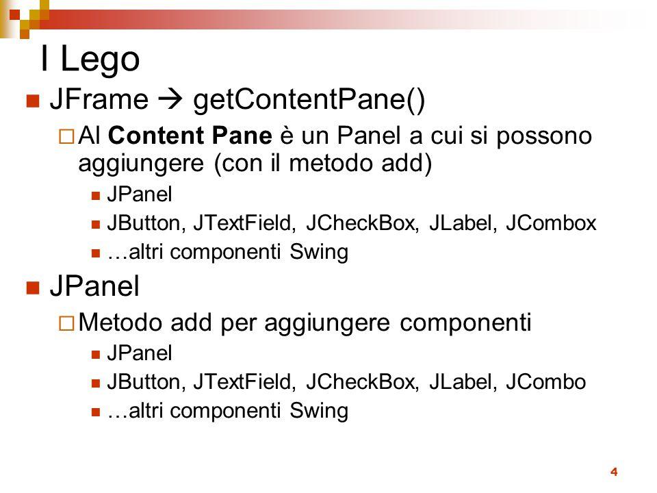 I Lego JFrame  getContentPane()