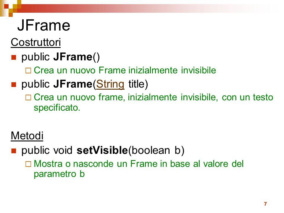 JFrame Costruttori public JFrame() public JFrame(String title) Metodi