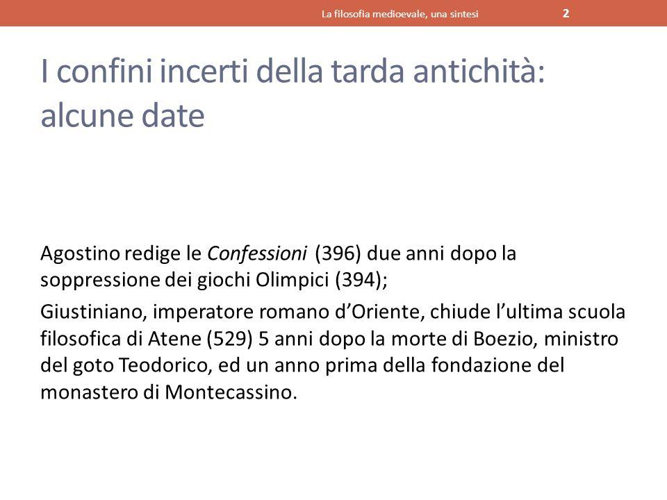 I confini incerti della tarda antichità: alcune date