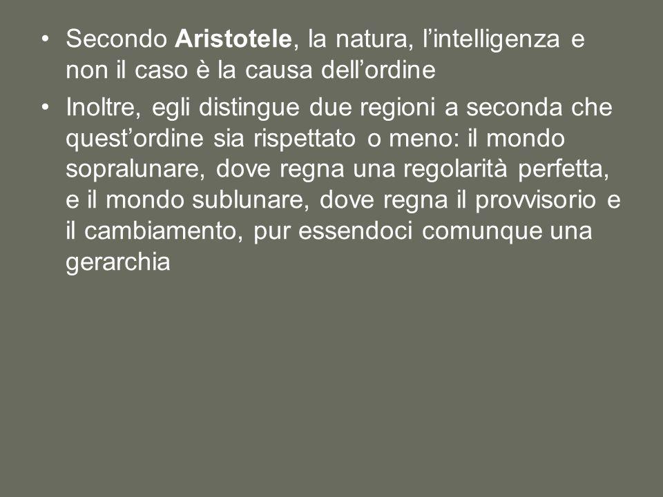 Secondo Aristotele, la natura, l'intelligenza e non il caso è la causa dell'ordine