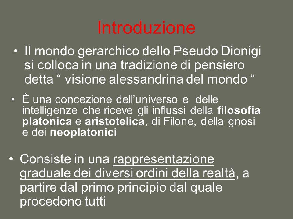 Introduzione Il mondo gerarchico dello Pseudo Dionigi si colloca in una tradizione di pensiero detta visione alessandrina del mondo