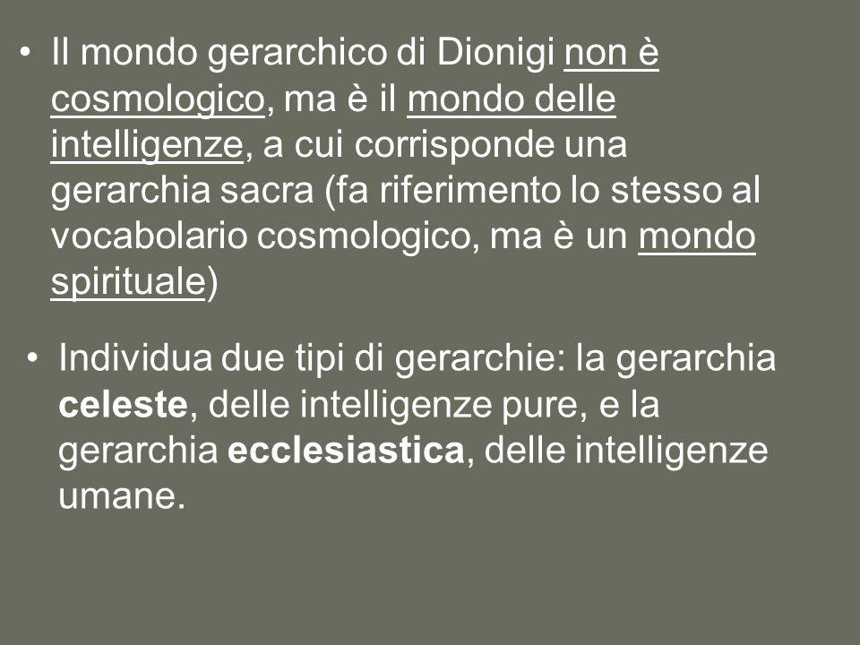 Il mondo gerarchico di Dionigi non è cosmologico, ma è il mondo delle intelligenze, a cui corrisponde una gerarchia sacra (fa riferimento lo stesso al vocabolario cosmologico, ma è un mondo spirituale)