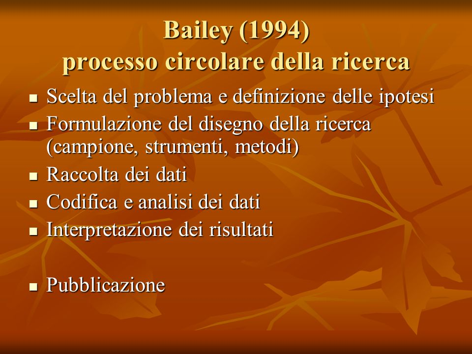 Bailey (1994) processo circolare della ricerca