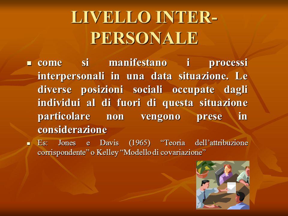 LIVELLO INTER-PERSONALE