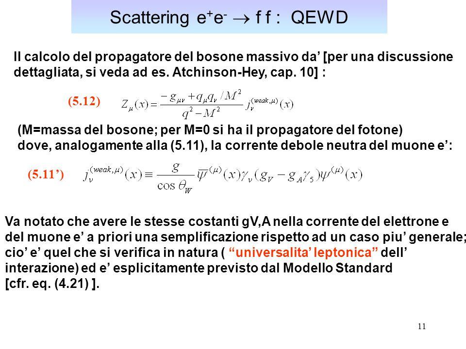 Scattering e+e-  f f : QEWD