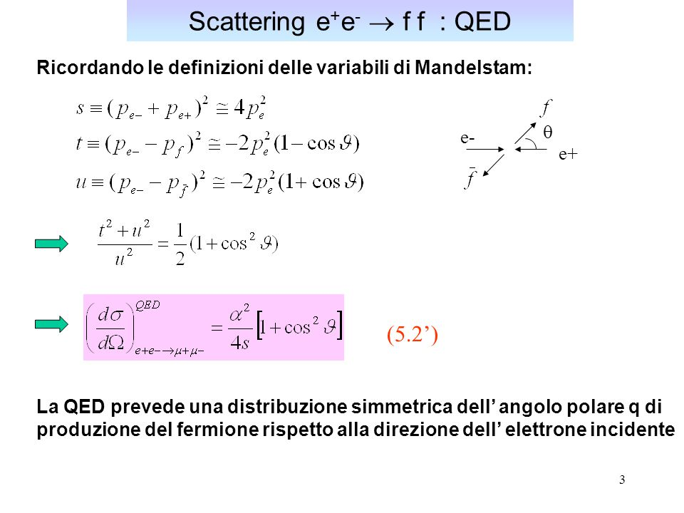 Scattering e+e-  f f : QED