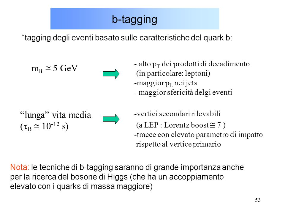 b-tagging mB  5 GeV lunga vita media (tB  10-12 s)