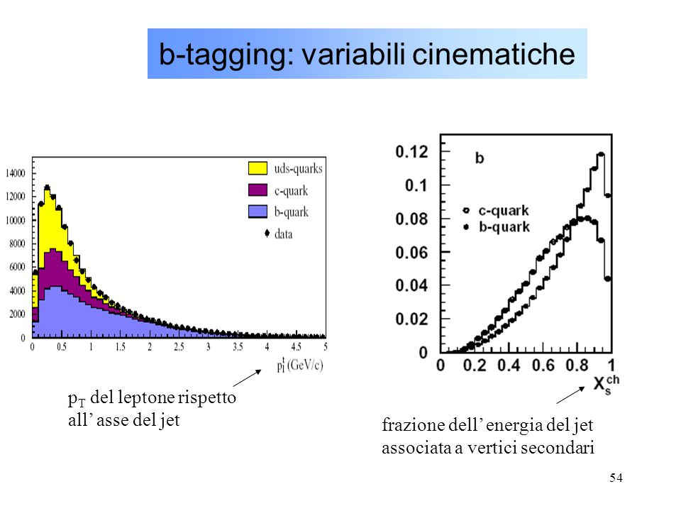 b-tagging: variabili cinematiche