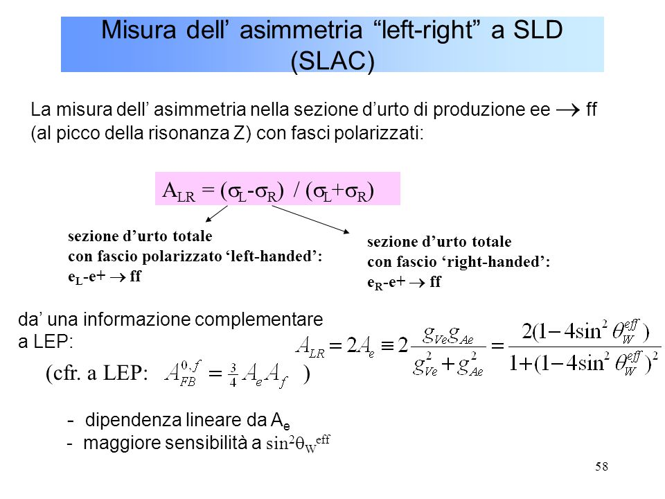 Misura dell' asimmetria left-right a SLD (SLAC)
