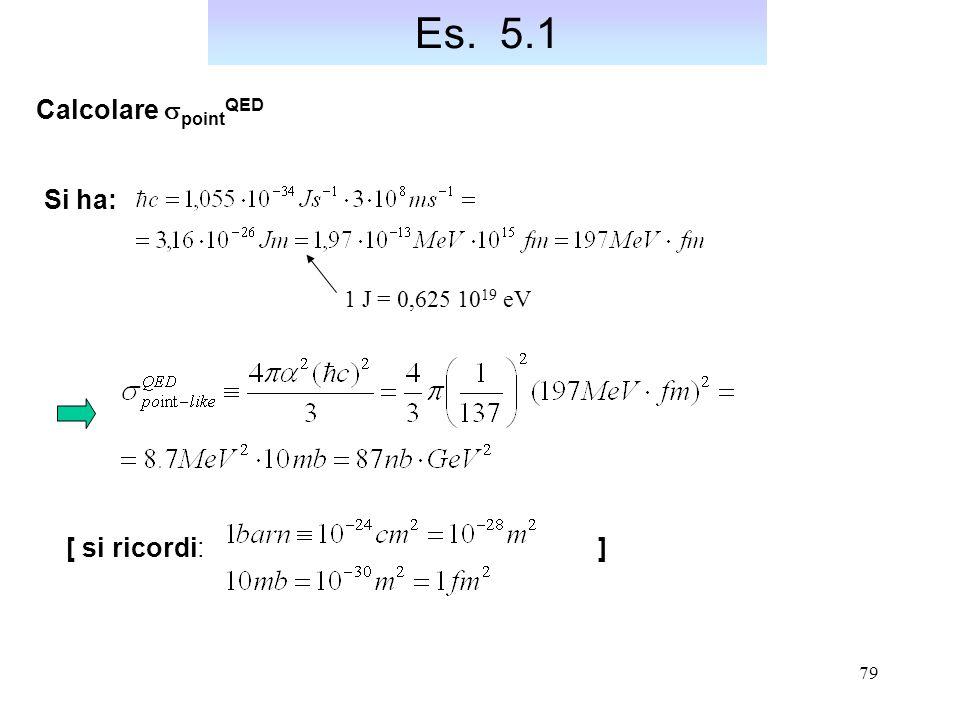 Es. 5.1 Calcolare spointQED. Si ha: 1 J = 0,625 1019 eV.