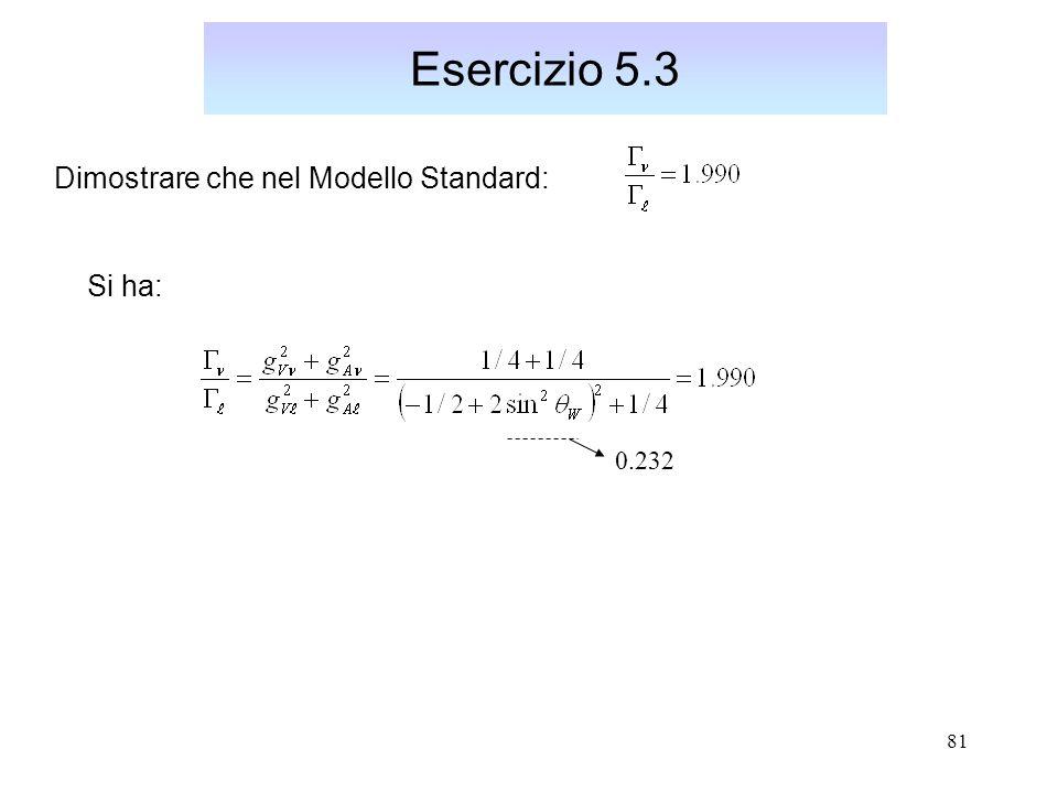 Esercizio 5.3 Dimostrare che nel Modello Standard: Si ha: 0.232