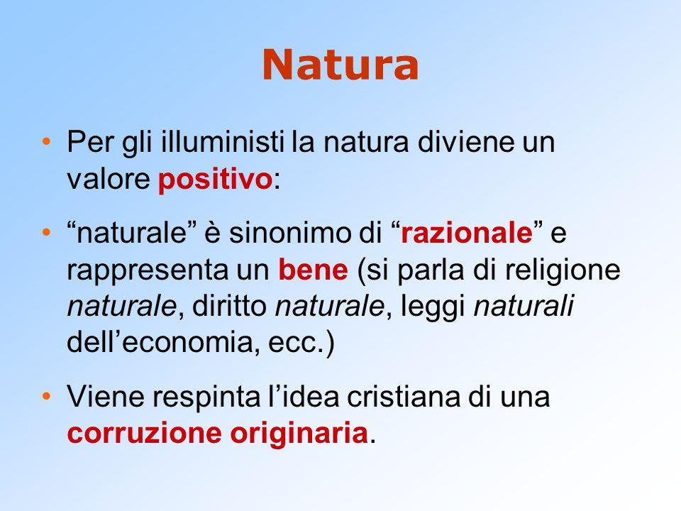 Natura Per gli illuministi la natura diviene un valore positivo: