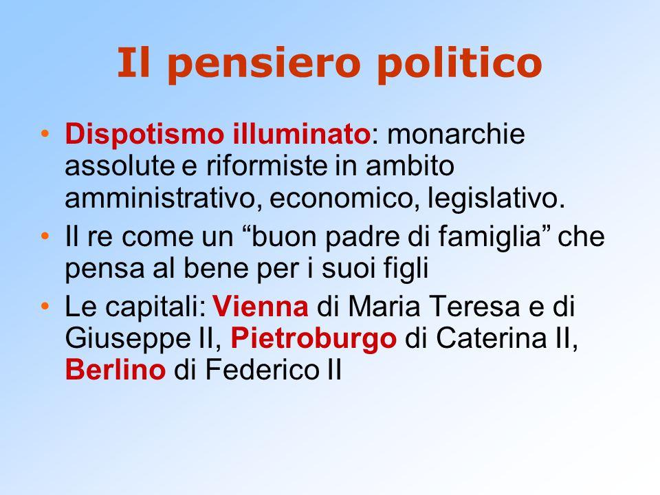 Il pensiero politico Dispotismo illuminato: monarchie assolute e riformiste in ambito amministrativo, economico, legislativo.