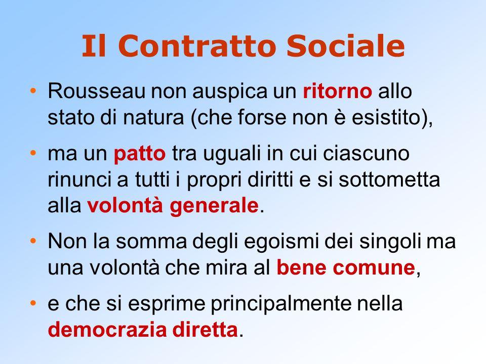Il Contratto Sociale Rousseau non auspica un ritorno allo stato di natura (che forse non è esistito),