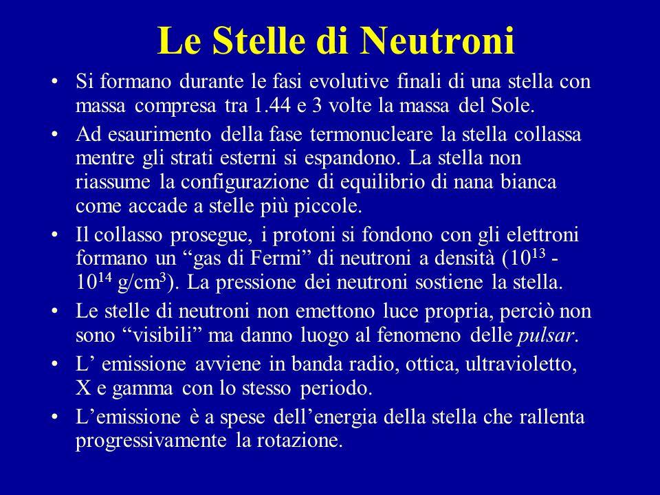 Le Stelle di Neutroni Si formano durante le fasi evolutive finali di una stella con massa compresa tra 1.44 e 3 volte la massa del Sole.