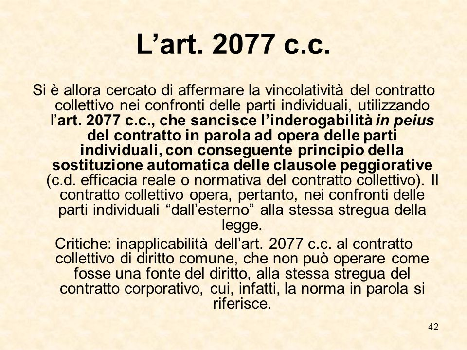 L'art. 2077 c.c.