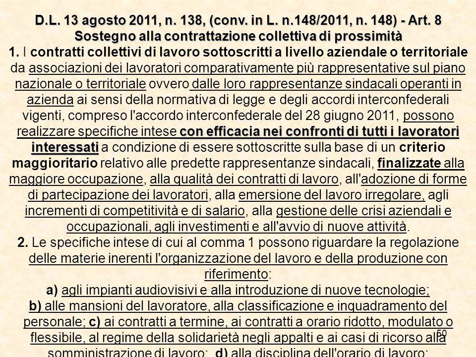 D. L. 13 agosto 2011, n. 138, (conv. in L. n. 148/2011, n. 148) - Art