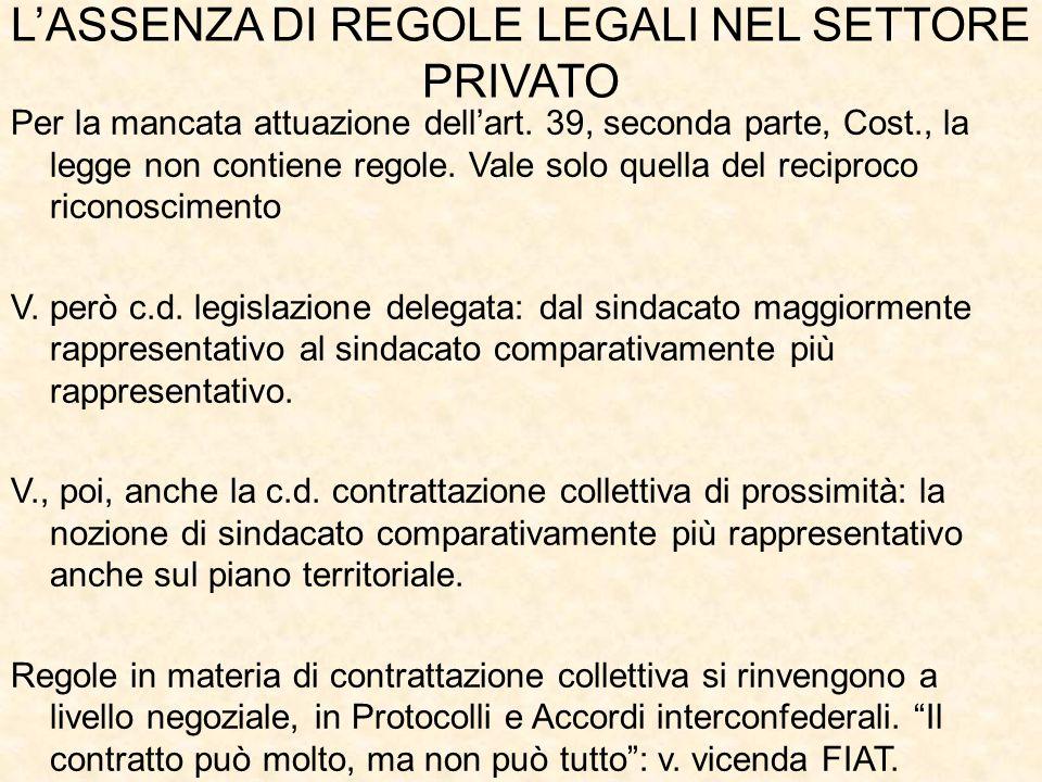 L'ASSENZA DI REGOLE LEGALI NEL SETTORE PRIVATO