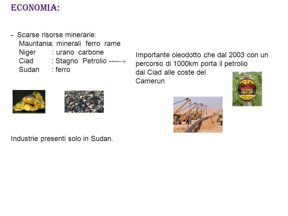 ECONOMIA: - Scarse risorse minerarie: Mauritania: minerali ferro rame