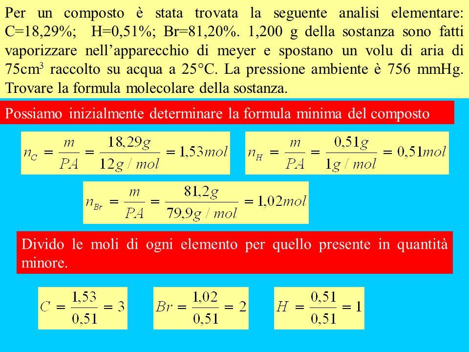 Per un composto è stata trovata la seguente analisi elementare: C=18,29%; H=0,51%; Br=81,20%. 1,200 g della sostanza sono fatti vaporizzare nell'apparecchio di meyer e spostano un volu di aria di 75cm3 raccolto su acqua a 25°C. La pressione ambiente è 756 mmHg. Trovare la formula molecolare della sostanza.