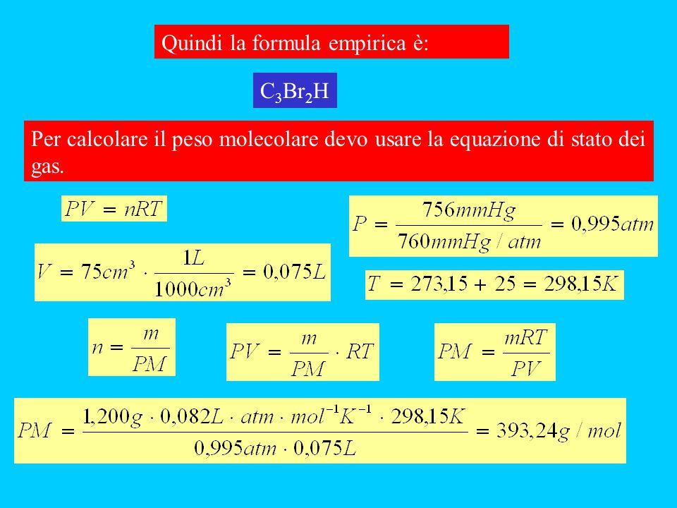 Quindi la formula empirica è: