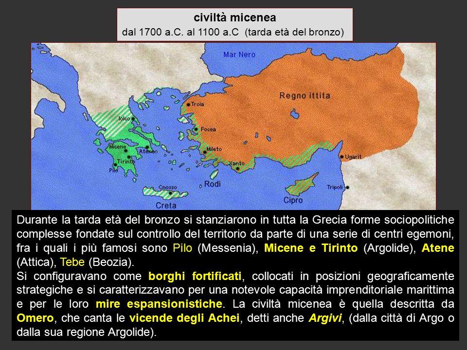 dal 1700 a.C. al 1100 a.C (tarda età del bronzo)