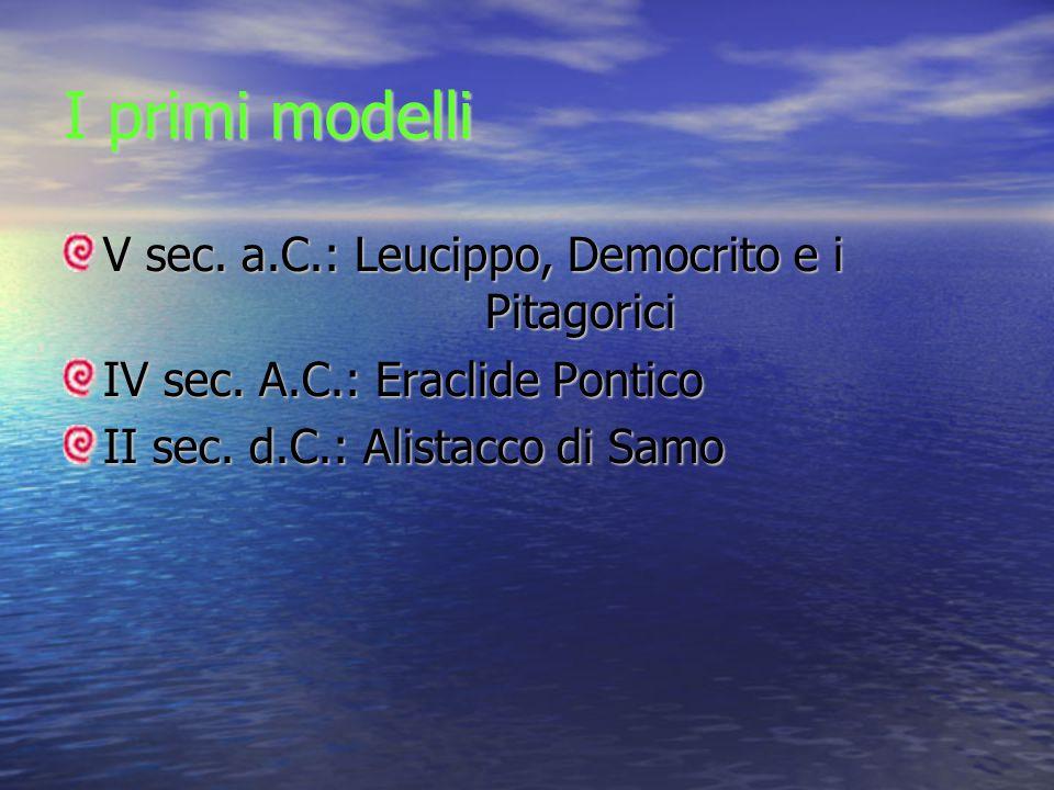 I primi modelli V sec. a.C.: Leucippo, Democrito e i Pitagorici