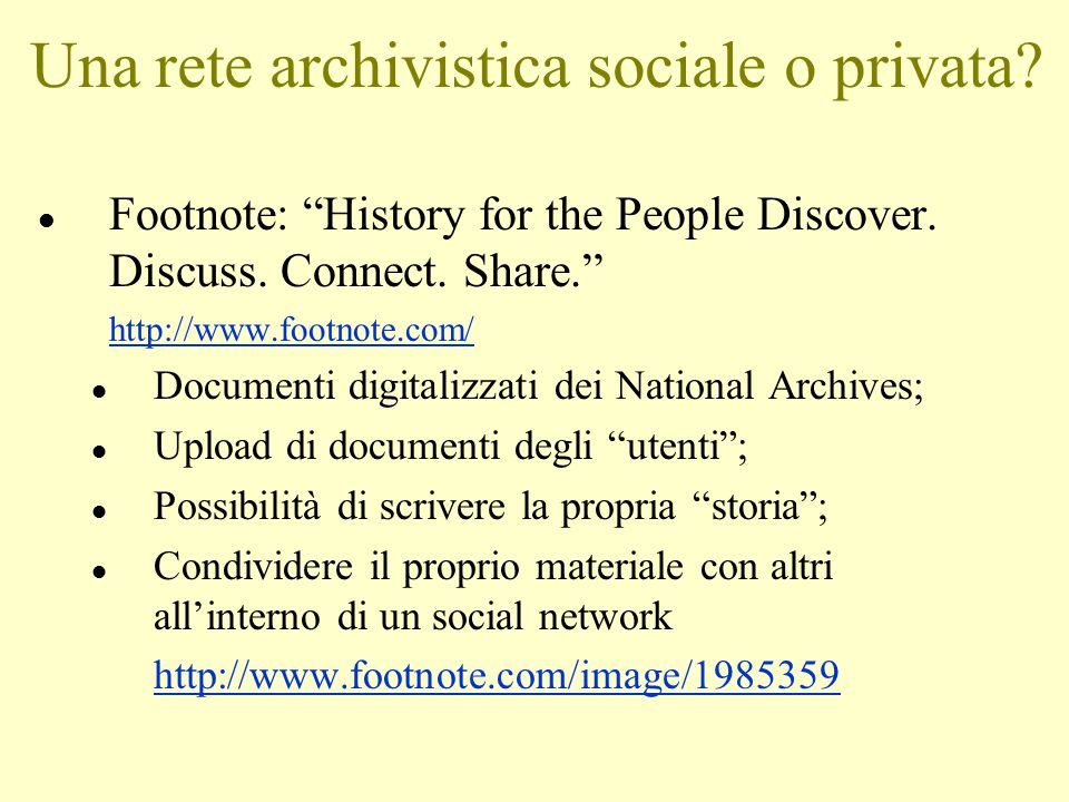 Una rete archivistica sociale o privata