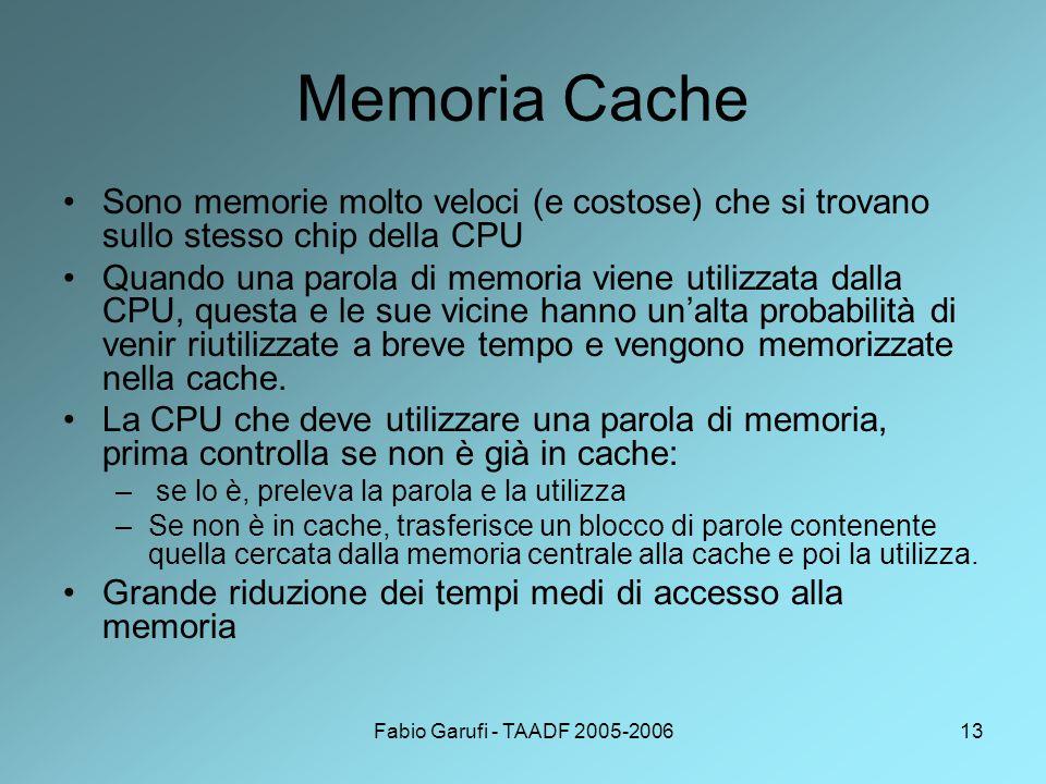 Memoria Cache Sono memorie molto veloci (e costose) che si trovano sullo stesso chip della CPU.